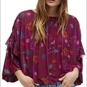 Gorgeous Free People burgundy floral ruffle blouse